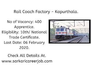 Rail Coach Factory Vacancies 2020 | 400 Apprentice Post Government Job Vacancies.