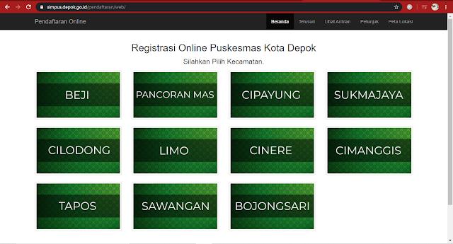 kecamatan daftar online puskesmas di Depok