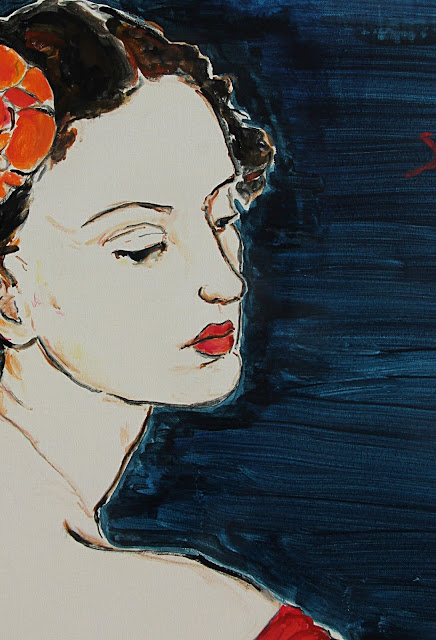 painting, sarah myers, contemporary art, acrylic, detail, portrait, woman