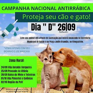 Itiruçu: Dia D da vacina antirrábica será em 26 de setembro