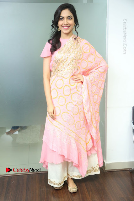 Actress Ritu Varma Pos in Beautiful Pink Anarkali Dress at at Keshava Movie Interview .COM 0005.JPG