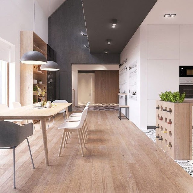 light wood in interior design dining room