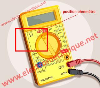 procédure  tester un condensateur utilisant  l'ohmmètre d'un multimètre