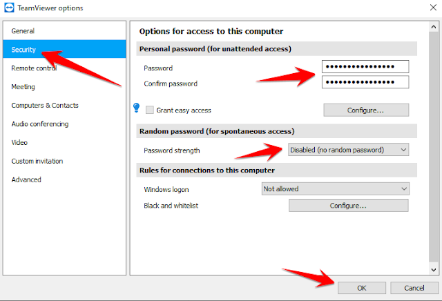 setting password teamviewer