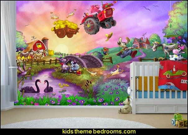 Funny Farm for Kids wallpaper mural farm bedroom wall decor farm bedroom decorating