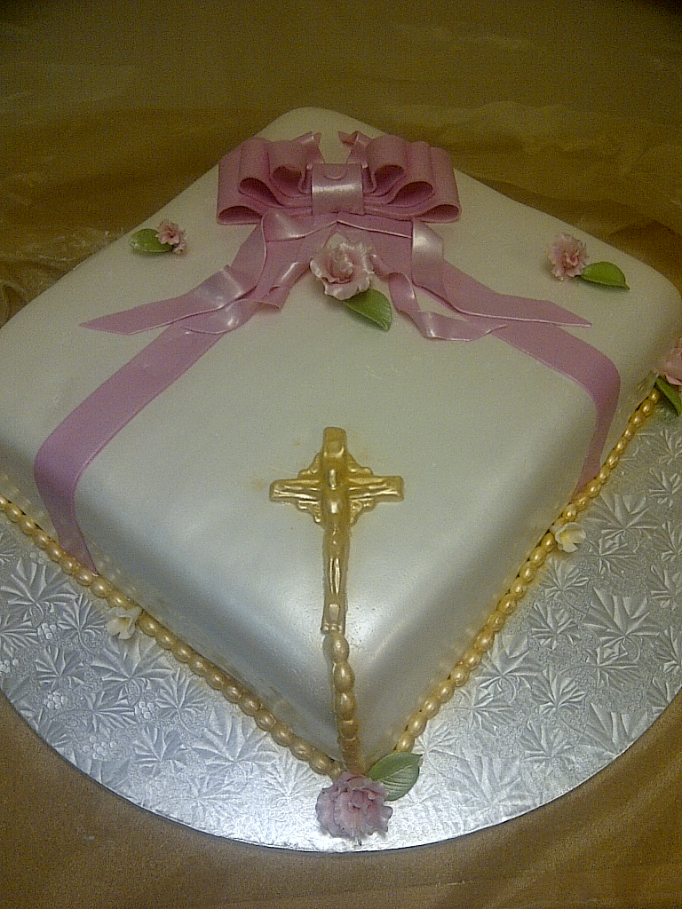 Cakes By Allie Girl S Communion Cake Pink White And Gold