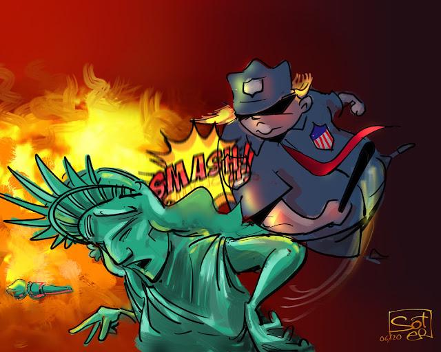 Εμπρηστικές δηλώσεις ... «Εάν μια πόλη ή ένα κράτος αρνείται να λάβει τις απαραίτητες ενέργειες για την υπεράσπιση της ζωής και της περιουσίας των κατοίκων τους, τότε θα αναπτύξω τον στρατό των Ηνωμένων Πολιτειών και θα λύσω γρήγορα το πρόβλημα για αυτούς», δήλωσε ο κ. Τραμπ σε παρατηρήσεις του Rose Garden το βράδυ της Δευτέρας.  the new york times.com  γελοιογραφία #icantbreathe #georgefloyd #usa