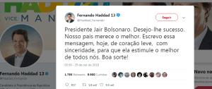 "Fernando Haddad parabeniza Jair Bolsonaro por vitória: ""Sucesso"""