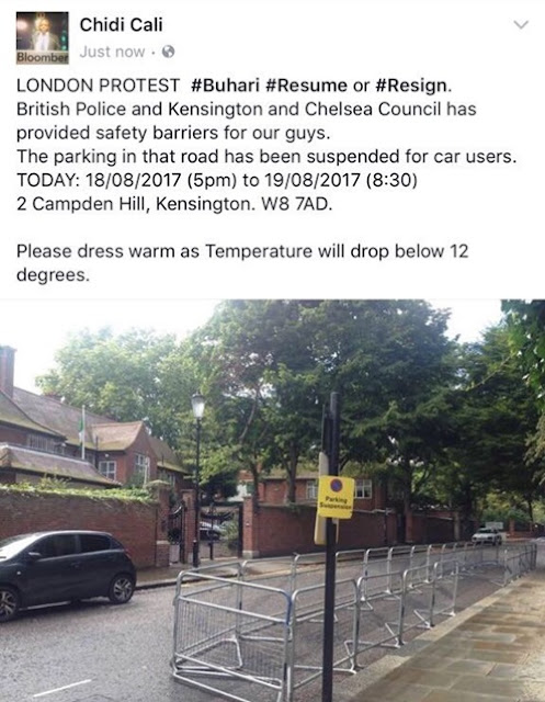 #ResumeOrResign: UK Police Grant Nigerians Permit to Protest Overnight Infront of Buhari's London House (Photos)