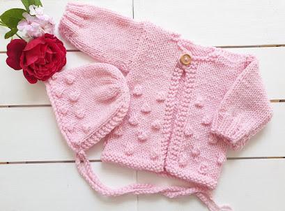 handknit baby cardigan jumper and bonnet