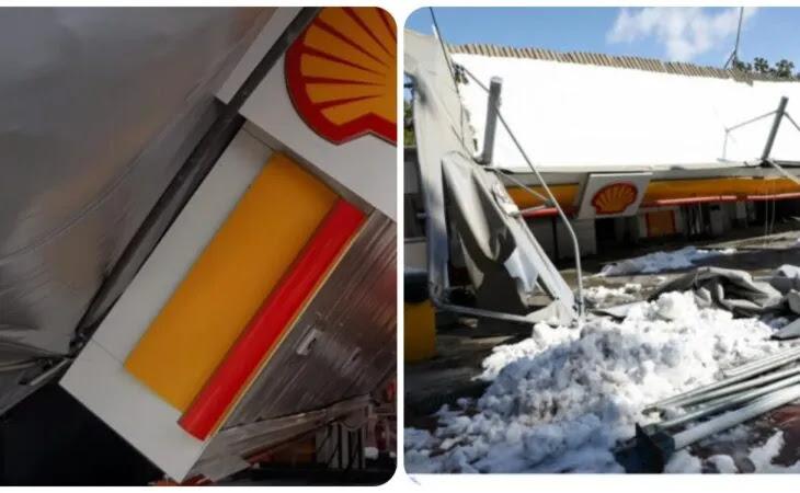 Βίντεο: Κατέρρευσε οροφή βενζινάδικου στο Χαϊδάρι λόγω του χιονιού