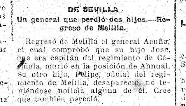 Noticia confirmando la muerte de dos  hijos de Felipe de Acuña Robles en el Rif