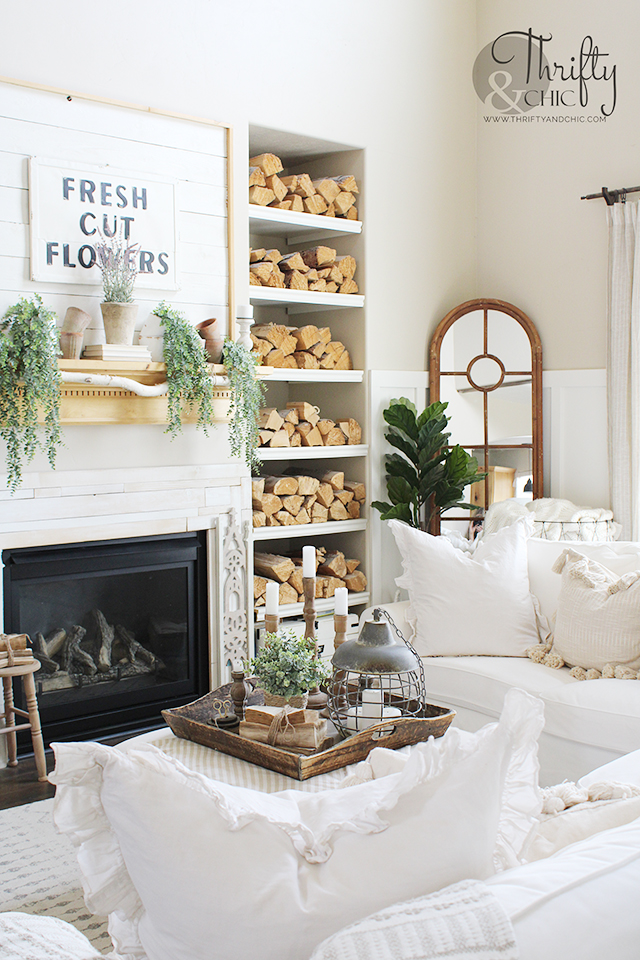 summer living decor, summer decorations for your home, summer decorating ideas, easy summer decor, farmhouse living room decorating ideas, two story living room ideas, board and batten living room, modern farmhouse decor, summer mantel decorating ideas, easy coffee table decor