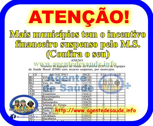 SUSPENDE%2BINCENTIVO%2BPARA%2BMUNICIPIO Mais municípios tem o incentivo financeiro suspenso pelo M.S. (Confira o seu)