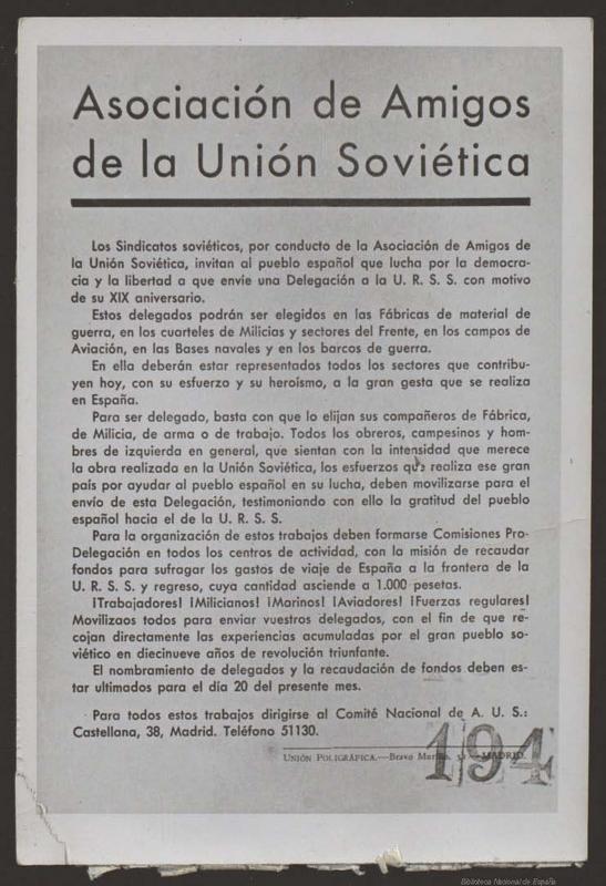 Manifiesto de la Asociación de Amigos de la Unión Soviética