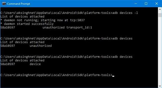 توصيل جهاز Android عبر ADB