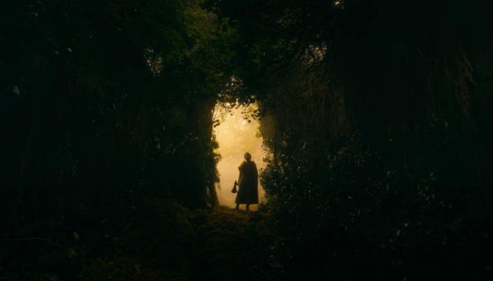 Imagem: uma paisagem de um túnel verdejante, feito completamente por folhas e ramos de árvores, e na entrada dele vemos a silhueta de Gawain com o seu machado em mãos.
