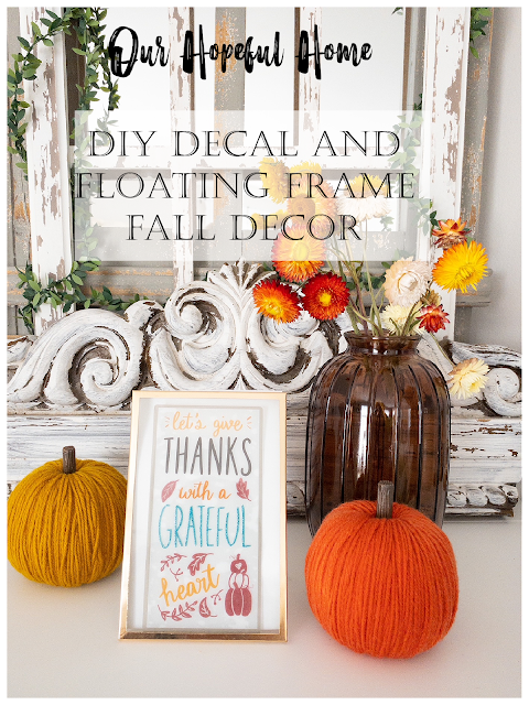 gold glass floating frame yarn pumpkins fall mantel decor