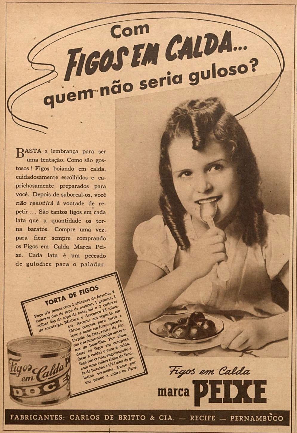 Anúncio da Marca Peixe promovendo seu Figo em Calda em 1940