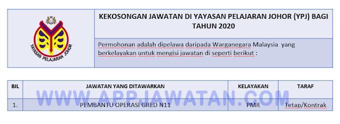 Jawatan Kosong di Yayasan Pelanjaran Johor (YPJ).