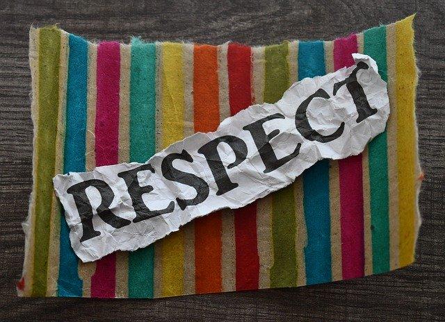 Das Wort Respekt auf Papier