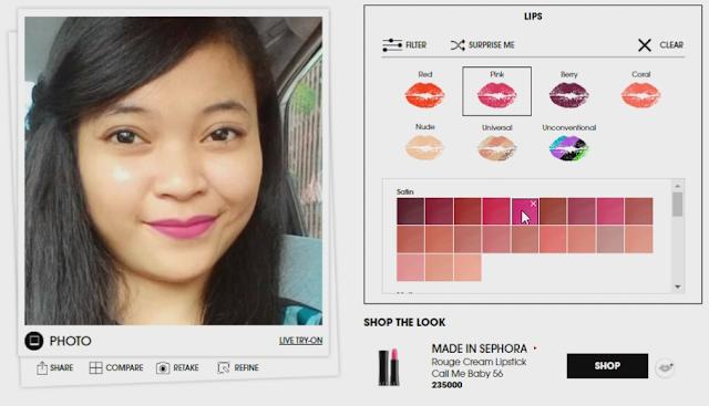 Bermain warna pada Sephora Virtual Artist