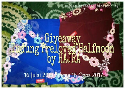 Giveaway Tudung Preloved Halfmoon by Hajra ciklapunyabelog.blogspot.my