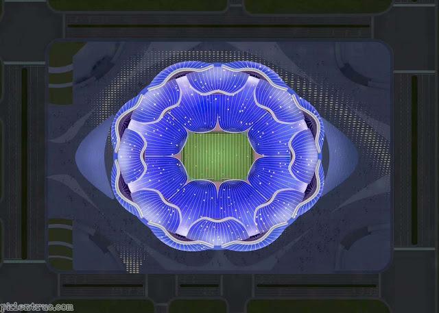 Mặt bằng tổng thể nhìn từ trên cao xuống Sân vận động hình hoa sen