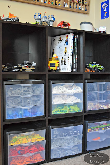 Simple and Decorative Lego Storage Using Plastic Drawers | One Mile Home Style