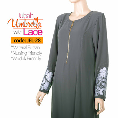 Jubah Umbrella Lace JEL-28 Grey Tepi 1