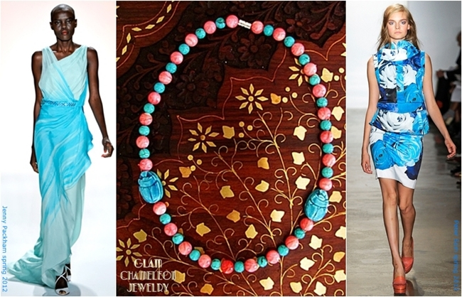 Glam Chameleon Jewelry blue scarab turquoise pink mother of pearl necklace