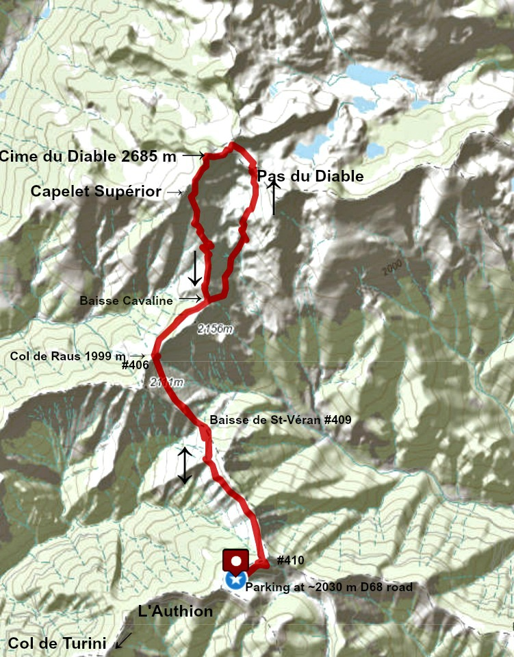 Cime du Diable hike track