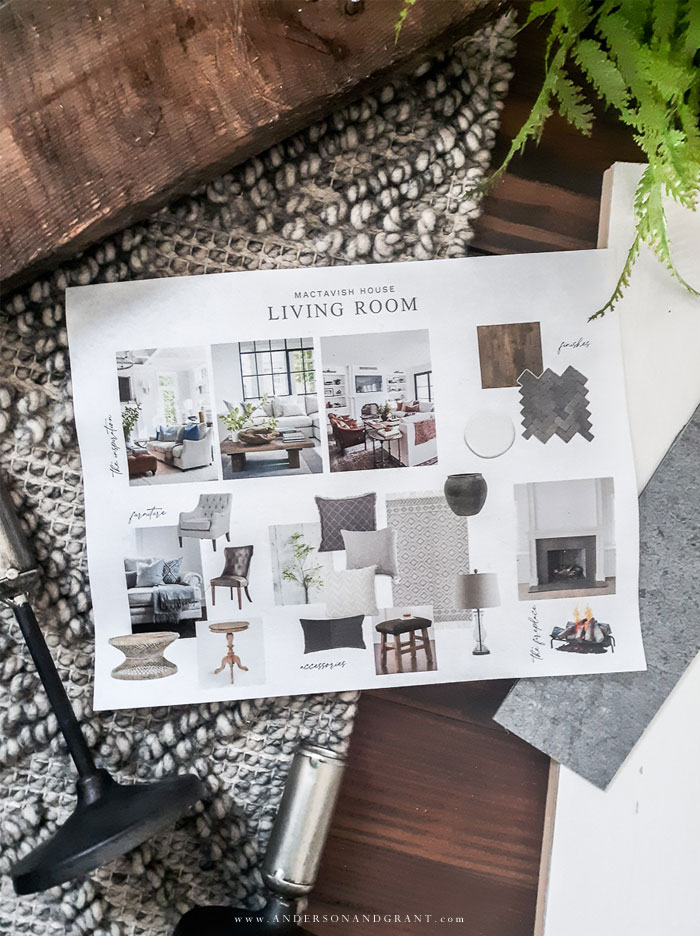 Living room design mood board and elements