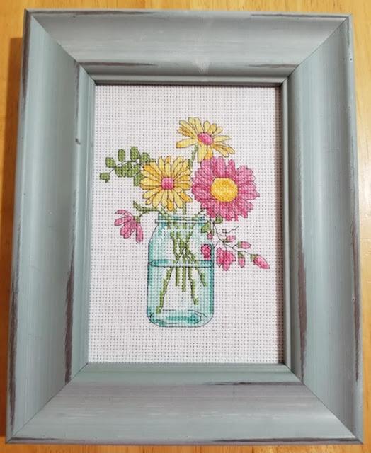 Completed Flower Mason Jar Cross Stitch