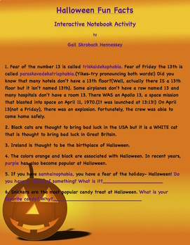Halloween Fun Facts for Kids: Interactive Notebook Activity ...