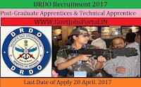 Defence Research & Development Organization Recruitment 2017– 80 Graduate Apprentices & Technical Apprentice