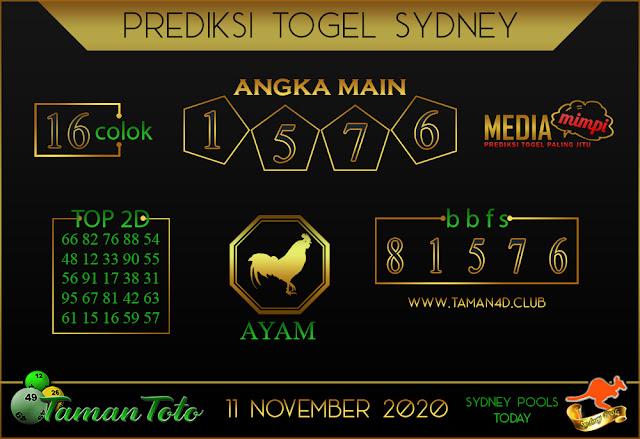 Prediksi Togel SYDNEY TAMAN TOTO 11 NOVEMBER 2020