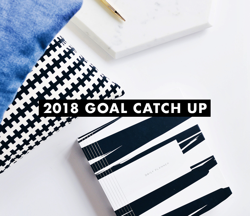 2018 goal catch up creative work and play flatlay