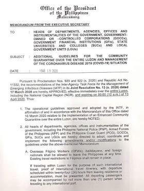 Luzon Enhanced Community Quarantine latest update amid COVID19.