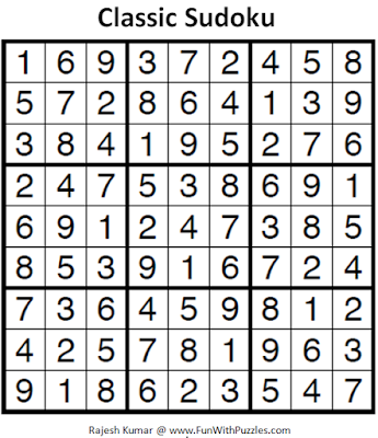 Classic Sudoku (Fun With Sudoku #243) Puzzle Answer