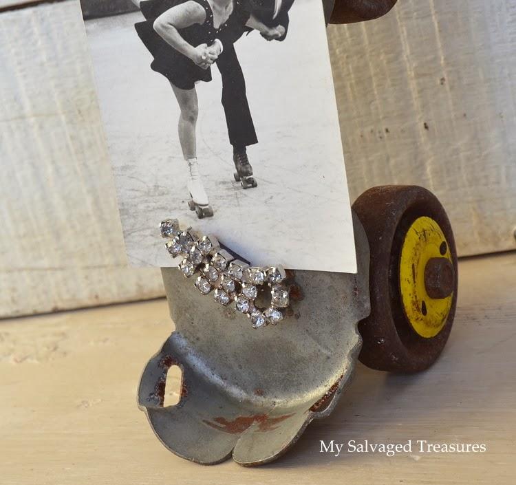 Upcycled vintage roller skate.