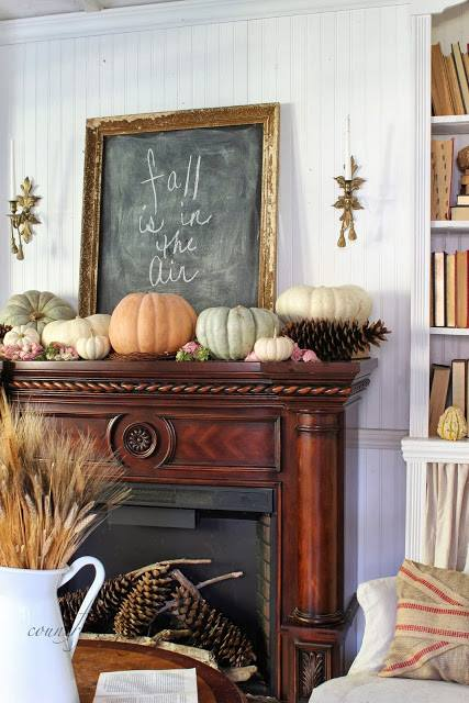 fall mantel pumpkins