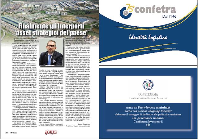 """DICEMBRE 2020 PAG. 22 - Finalmente gli Interporti  """"asset strategici del paese"""""""