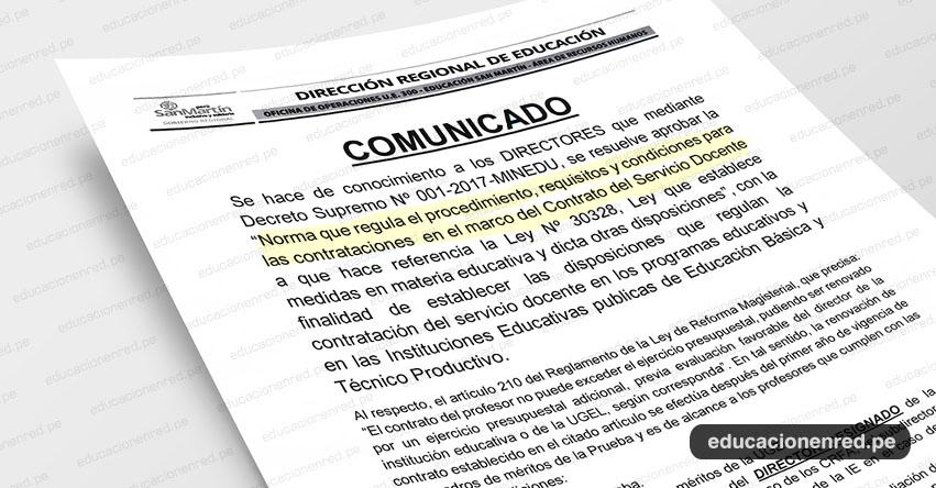 Proceso de Contrato Docente 2019 en la DRE San Martín - www.dresanmartin.gob.pe