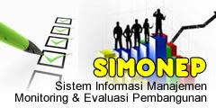 Aplikasi sistem monitoring dan evaluasi pembangunan | SIMONEP