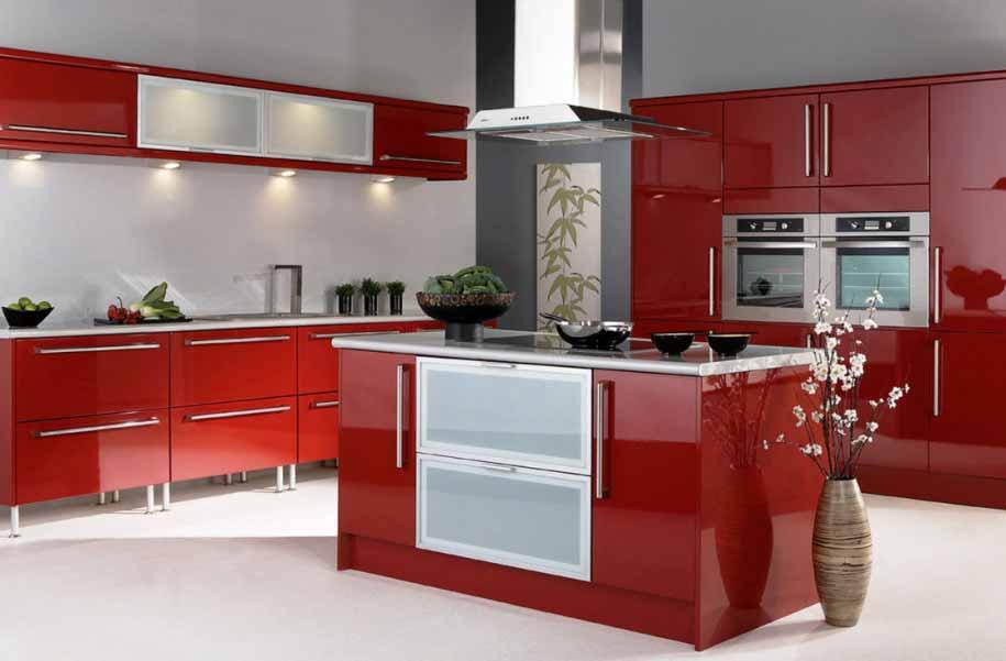 Memasak jadi menyenangkan dengan desain dapur warna merah for Kitchen set jadi