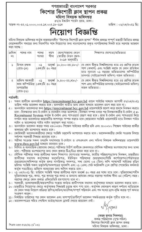 DWA job circular 2021 মহিলা বিষয়ক অধিদপ্তর নিয়োগ বিজ্ঞপ্তি ২০২১