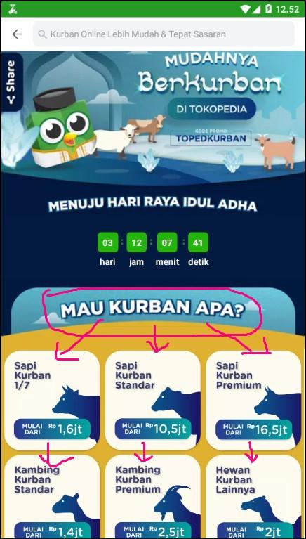 Memilih Hewan Kurban di Aplikasi Marketplace Tokopedia.