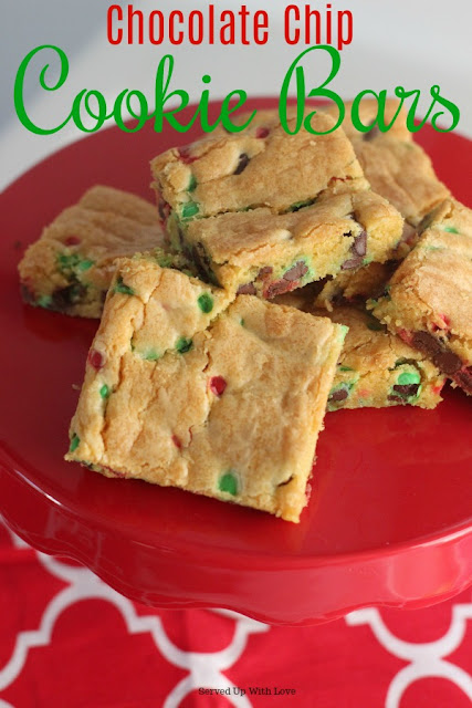 "Gooey Chocolate Chip Cookie Bars aka ""Lazy"" cookies recipe from Served Up With Love are the perfect sweet treat to bake when you are short on time."