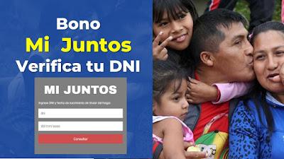 BonoMiJuntos link para ingresar tu DNI y verificar si eres beneficiario